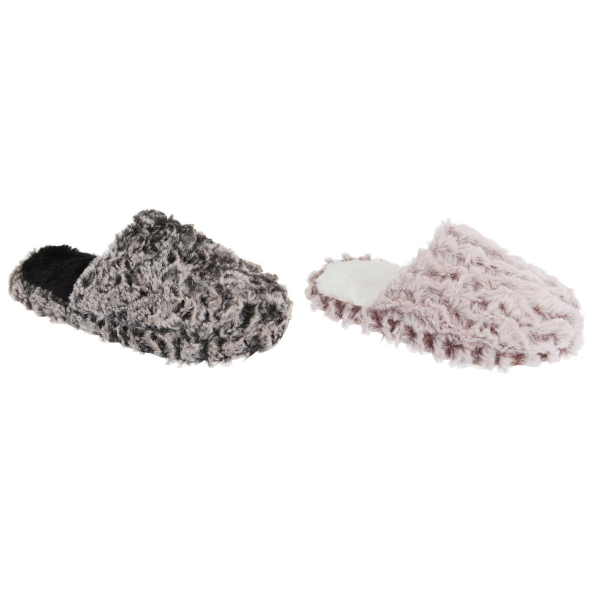 SlumberzzZ Womens//Ladies Bow Tie Fleece Slippers With Rubber Sole SL697